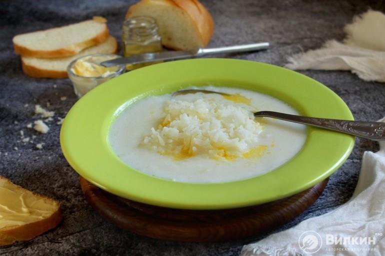 готовый молочный суп с рисом