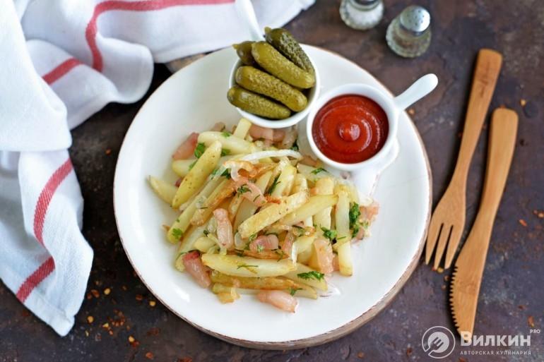 Жареная картошка с салом