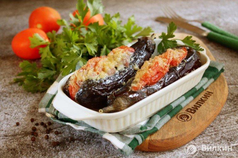 Баклажаны, фаршированные мясом и помидорами в духовке