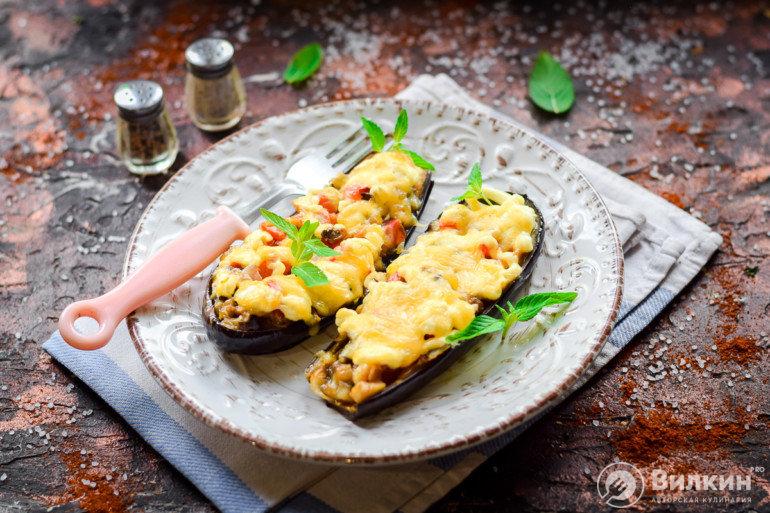 фаршированные баклажаны с овощной начинкой