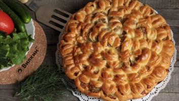 пирог Хризантема с фаршем