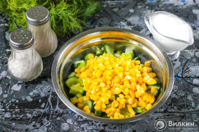 закладка кукурузы и огурцов