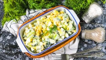 салат из кукурузы с огурцом и яйцом