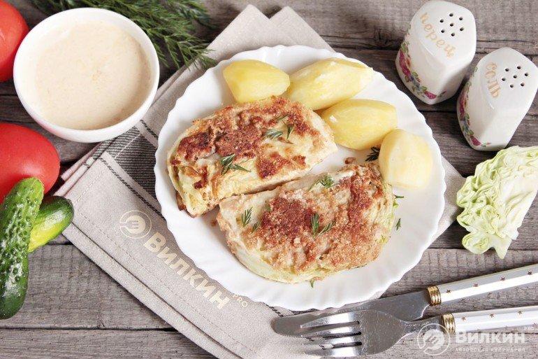 капустные шницели с картофельным гарниром