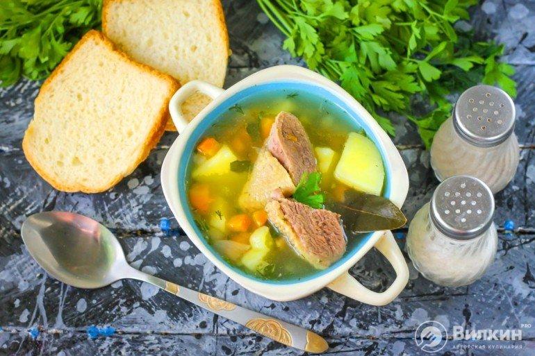 порция горячего супа с утиным мясом
