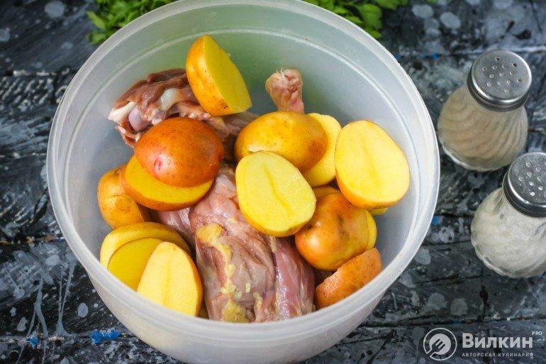 подготовка мяса и картофеля