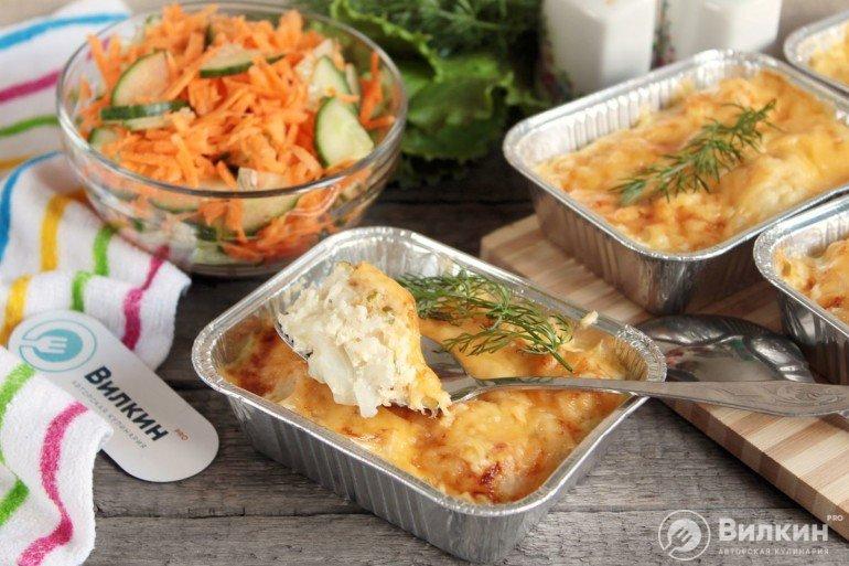 готовый гратен из цветной капусты с сыром