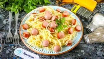 cпагетти с сосисками