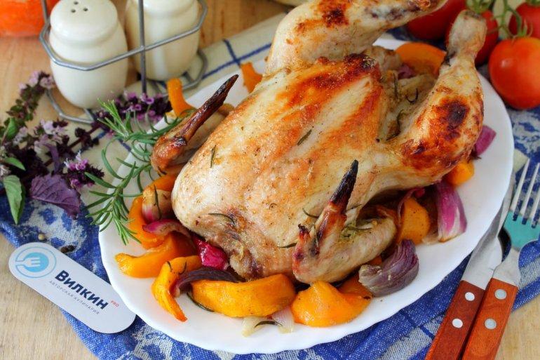Курица с тыквой в духовке