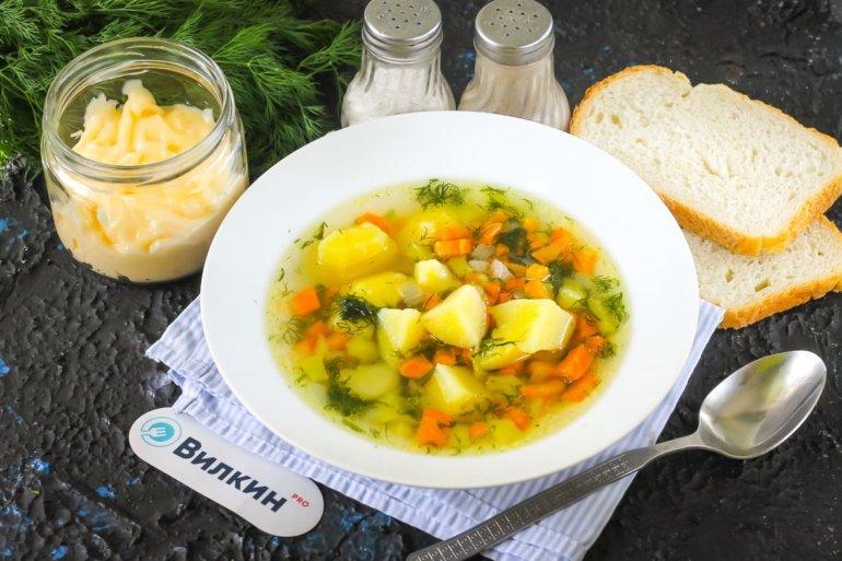 порция куриного супа с овощами