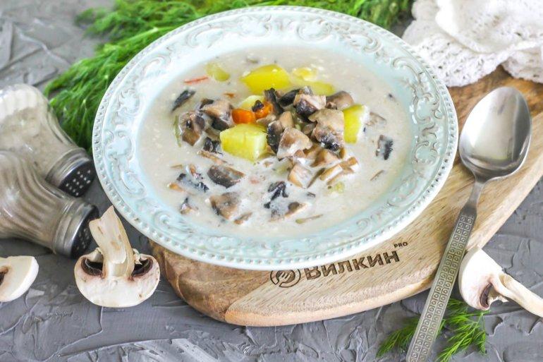 порция ароматного супа с грибами и сыром