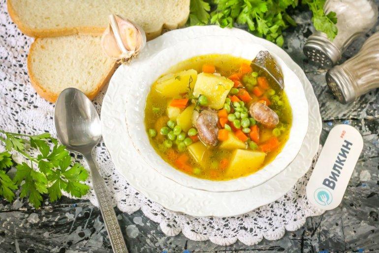 гороховый суп с куриными сердечками