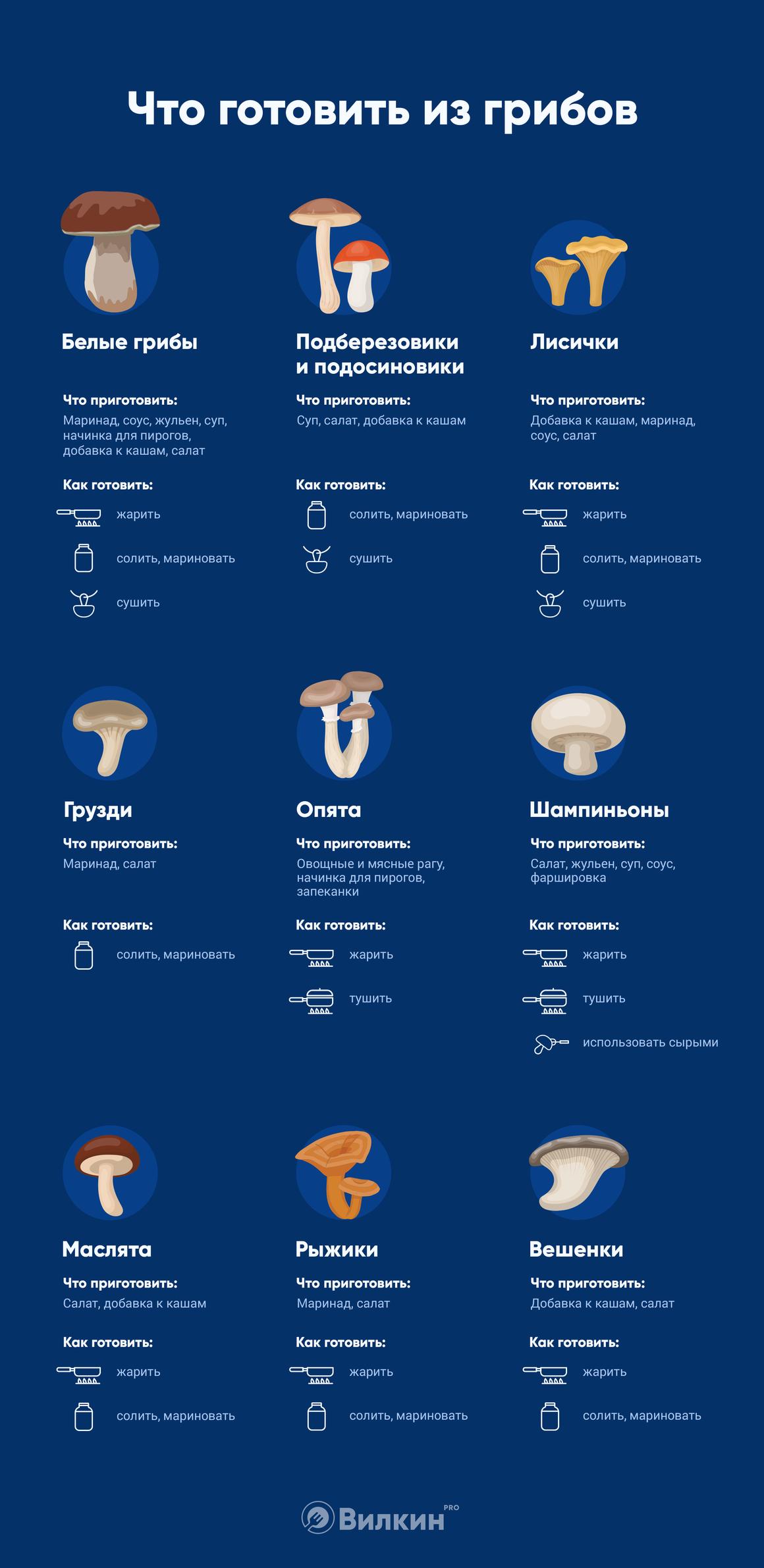 что приготовить из грибов