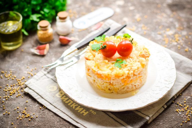 Рис с курицей на сковороде