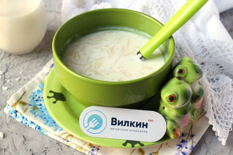 порция вермишели с молоком