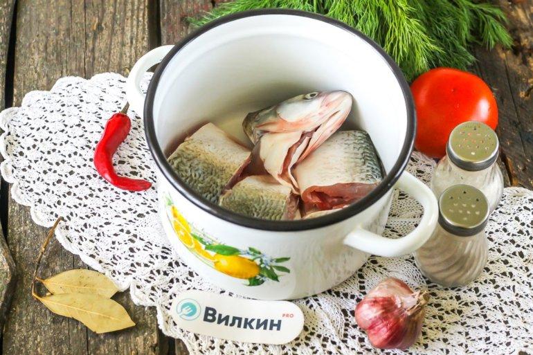 куски рыбы в кастрюле