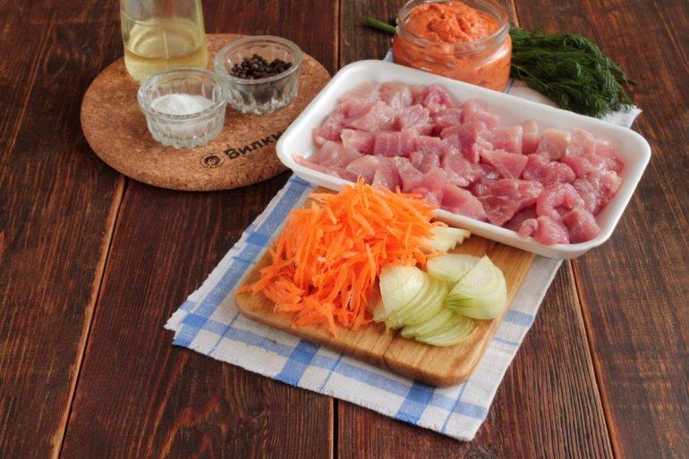подготовленные овощи с мясом