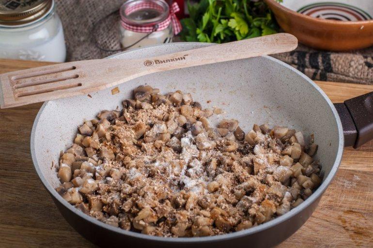 введение муки и порошка из грибов