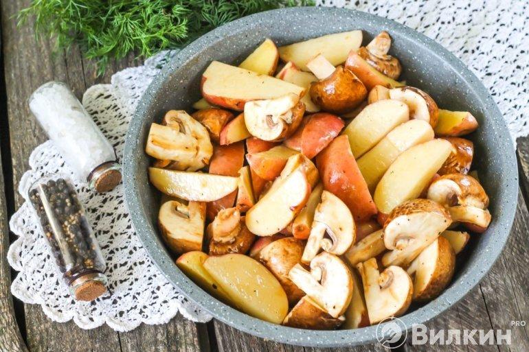 соединение грибов с картофелем