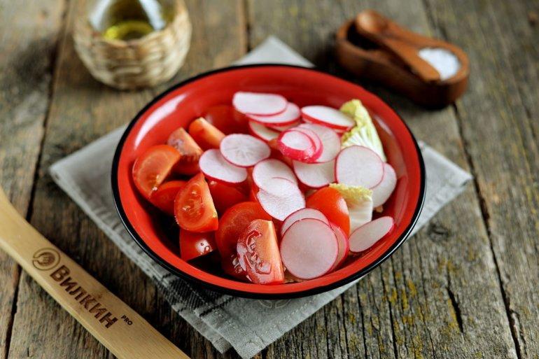 редис и томаты