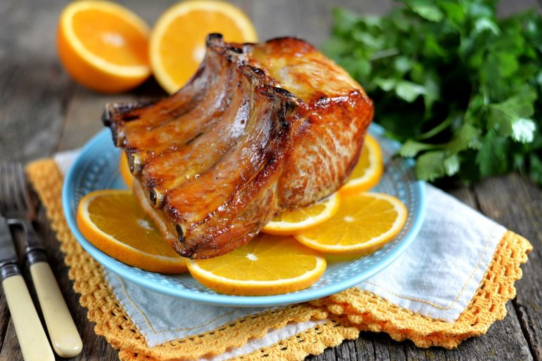 запеченная корейка с апельсинами