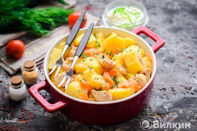 запеченная индейка с картошкой и морковью