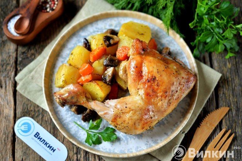Окорочка с картошкой в рукаве в духовке