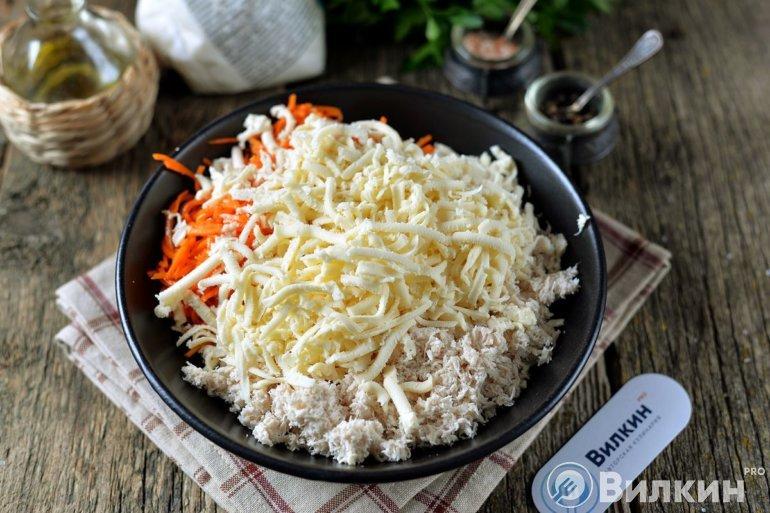Соединение курицы с морковью и сыром