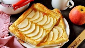 Слойка с яблоками из слоеного теста