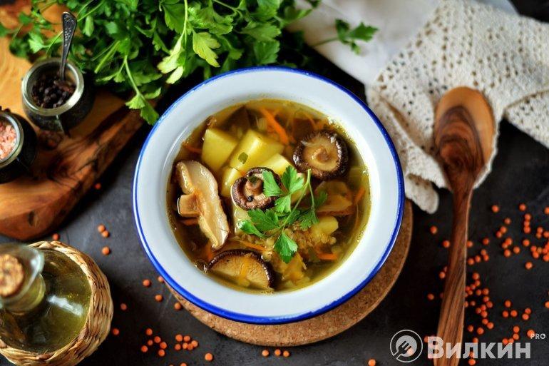 Порция грибного супа с чечевицей