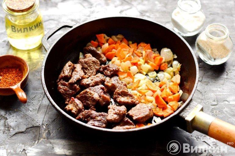 Закладка овощей к мясу