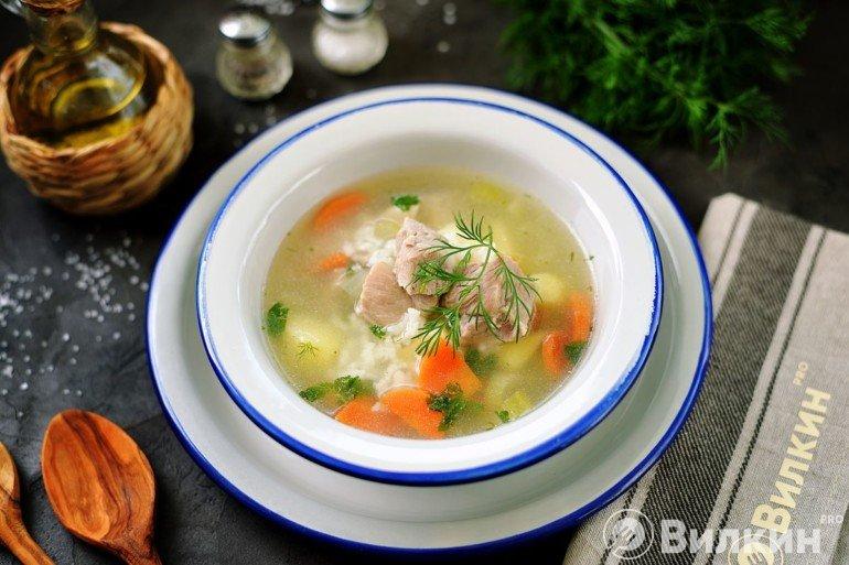 Рисовый суп со свининой на обед