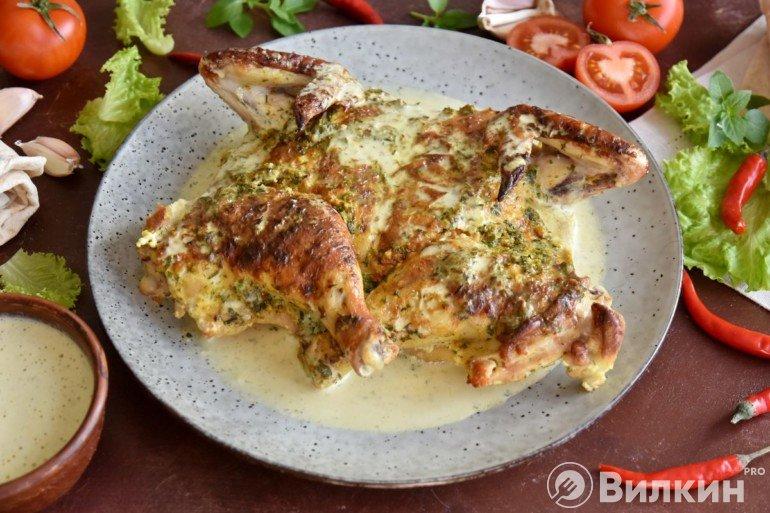 Тушеный цыпленок по-грузински