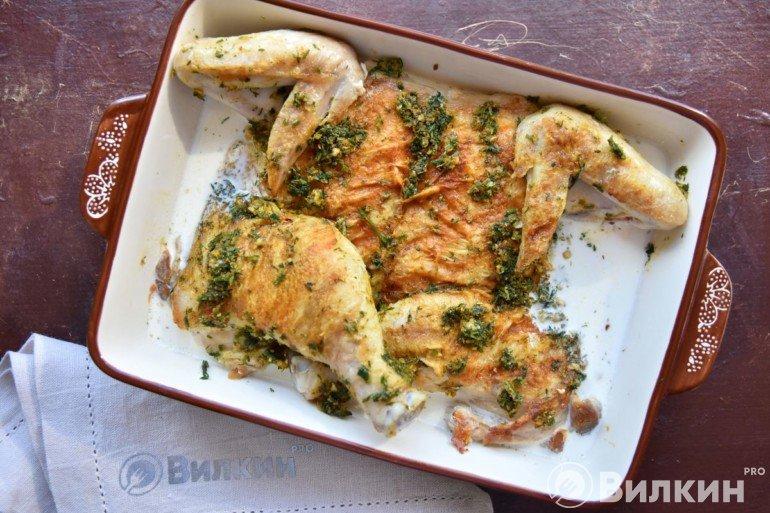Выкладка цыпленка в форму