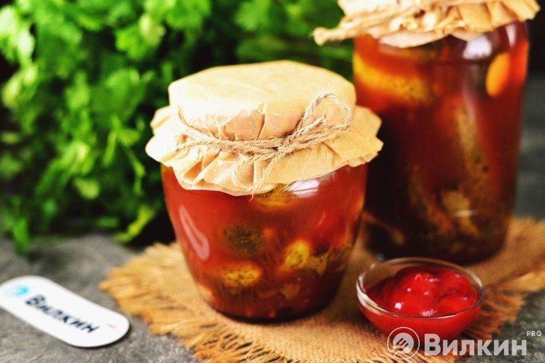 Огурчики в маринаде с кетчупом на зиму