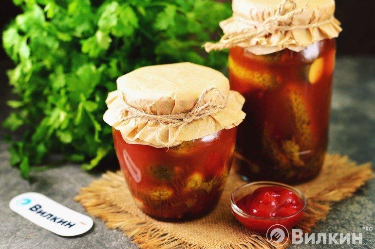 Огурцы, маринованные с кетчупом, на зиму