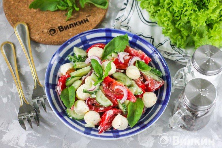 Итальянский салат с моцареллой и овощами