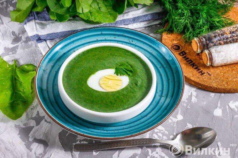 Яркий суп-пюре из шпината на обед
