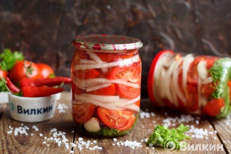 Закуска из помидоров и лука на зиму