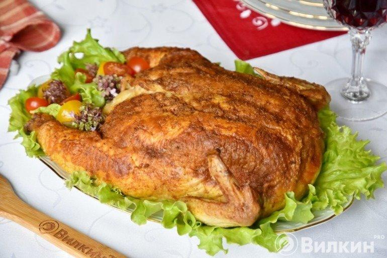 Запеченная курица с блинами внутри