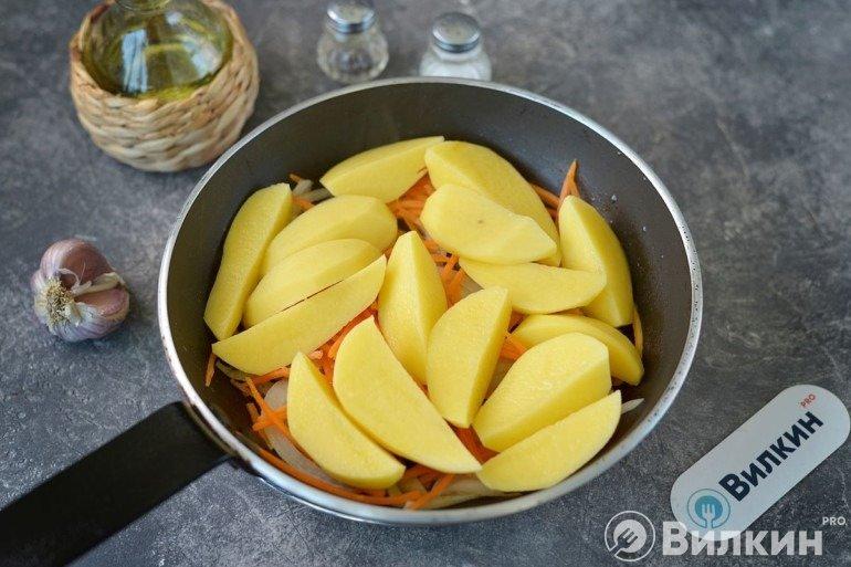 Добавление долек картофеля