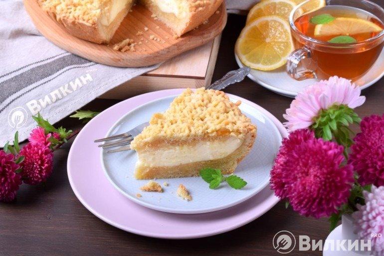 Тертый пирог с творогом