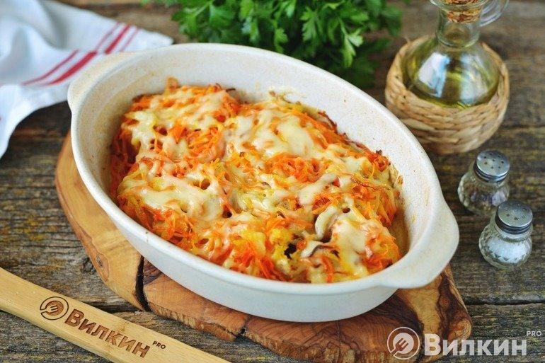Запеченная треска под овощной шубой с сыром