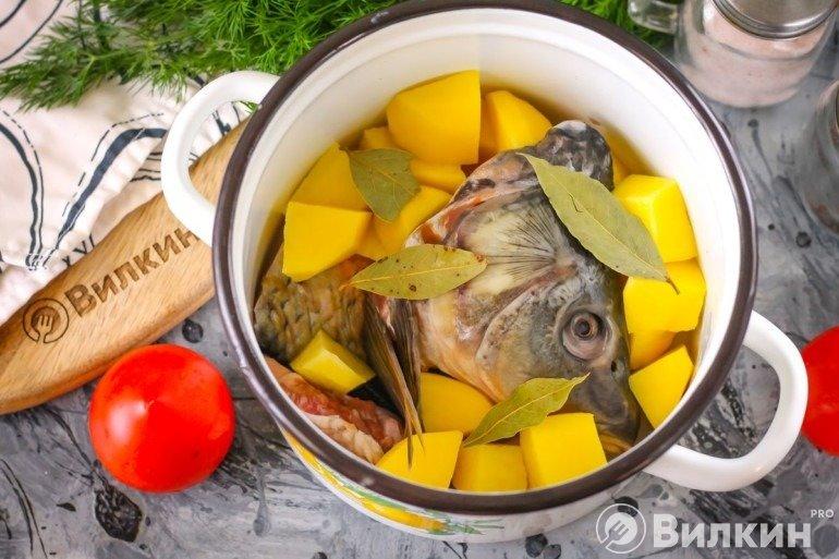 Картошка и части рыбы в кастрюле