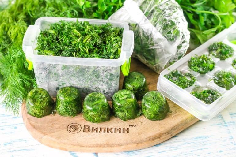 Заготовки замороженной зелени