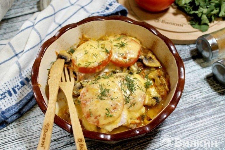 Горбуша с помидорами и сыром в духовке