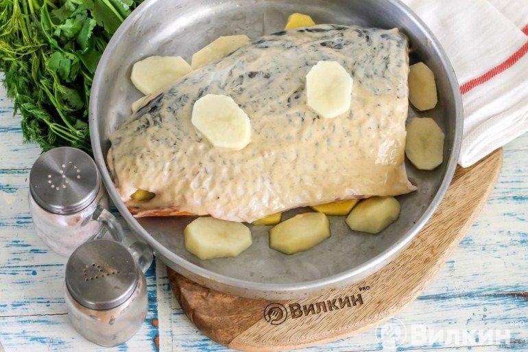 Укладка рыбы с картошкой в форму