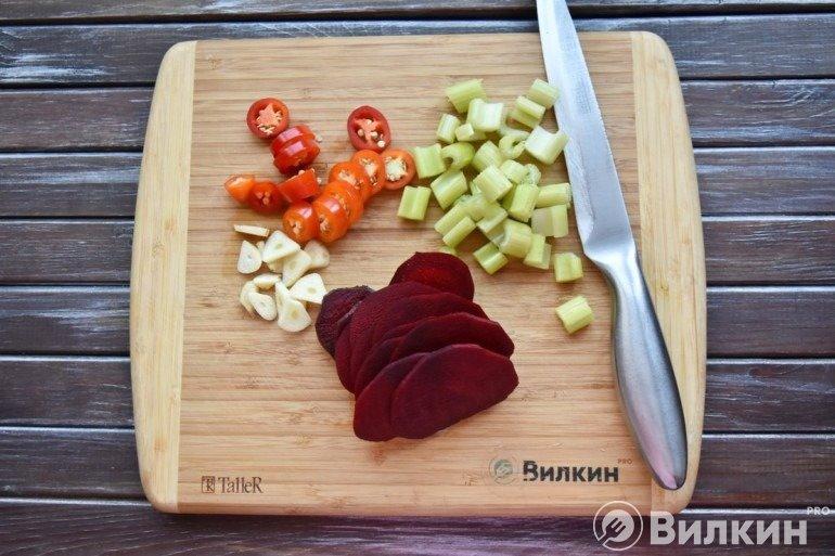 Нарезка остальных овощей
