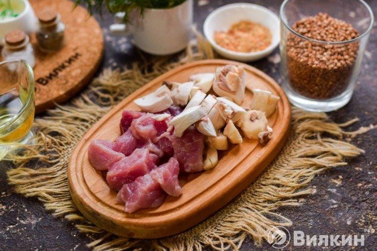 Мясо и шампиньоны