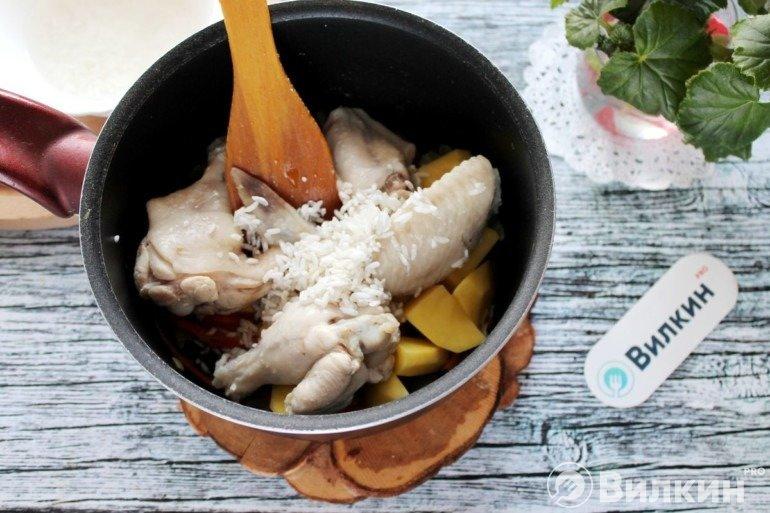 Закладка риса и курицы